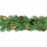 Christmas border with fir branches, gold balls and cones оn whi. Eautiful vintage background with a garland of fir branches, balls and cones for Christmas and royalty free stock photos