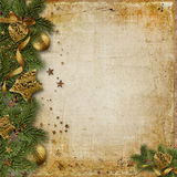 Christmas border with fir branches and gold decorations. Christmas border with spruce branches and beautiful gold decorations with space for photos and royalty free illustration