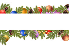 Christmas border with fir branches, pine cones, christmas balls and serpentine. Christmas balls, pine cones and fir branches on a white background royalty free stock image