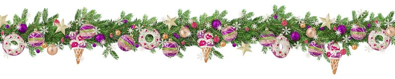 Christmas border with fir branches, toys, baubles, balls and snowflakes sprinkled with snow isolated on white. Panoramic format. royalty free stock images