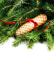 Christmas Border with Fir Tree Branch and Christmas decoration i Stock Image
