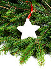 Christmas Border with Fir Tree Branch and Christmas ornaments  i Stock Image