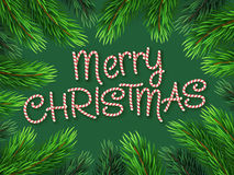 Christmas Border Fir-tree Branches with Candy cane Stock Images