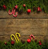 Christmas border with fir tree branches, cones, christmas decora Stock Photo