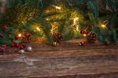 Christmas border with fir tree and lights Royalty Free Stock Photos