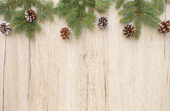Christmas Border with Fir Tree Twigs and Pine Cones Stock Image