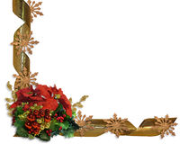 Christmas border flowers and ribbon stock images
