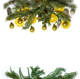 Christmas border frame of fir tree branch on white background isolated Stock Photography