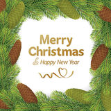Christmas border frame. Christmas, Christmas isolated, christmas tree, border, frame, christmas background, pine, coniferous, cone, colorful, new year royalty free illustration