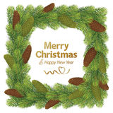 Christmas border frame with pine cone Stock Photo