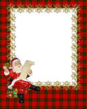 Christmas Border Frame red plaid. Image and Illustration composition for Christmas holiday border, invitation template or frame with Santa on red plaid royalty free illustration