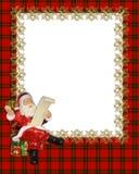Christmas Border Frame red plaid stock photography