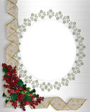 Christmas Border frame ribbons. Image and illustration Composition Christmas Corner design with holly berries and curled, gold and white ribbon for border or stock illustration