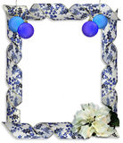 Christmas border frame Ribbons. Image and illustration Composition of Christmas curled decorative blue ribbon frame or border with white poinsettia and blue stock illustration