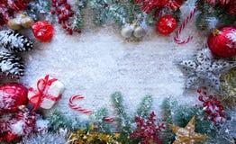 Christmas border frame on white snow royalty free stock images