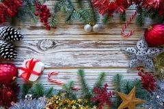 Christmas border frame on white wood royalty free stock photo