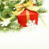 Christmas border - gift and Xmas tree Royalty Free Stock Image