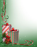 Christmas Border Gifts and flowers Stock Photography