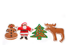 Christmas border with gingerbread cookies isolated on white Royalty Free Stock Photography