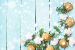Christmas border with gingerbread, marshmallow and branch of fir tree decorated with snow.  stock images
