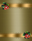 Christmas border gold background. Image and Illustration composition for elegant Christmas holiday background, border, greeting card, invitation template with stock illustration
