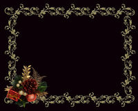 Christmas border gold on black Royalty Free Stock Image