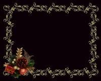 Christmas border gold on black Royalty Free Stock Image