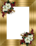 Christmas border gold floral Stock Images