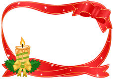 Christmas border with golden candle. Raster illustration of Christmas golden candle with festive ribbon over white. Vector file saved as EPS AI 8 also available stock illustration
