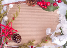 Christmas border with hawthorn, fir tree and bird Royalty Free Stock Images