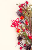 Christmas border with hawthorn, fir tree and wild apples Royalty Free Stock Photography