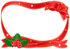 Christmas border with holly. Raster illustration of Christmas festive border with red ribbons and holly. Vector file saved as EPS AI 8 also available stock illustration