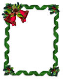 Christmas border Holly, bells, and ribbons. Image and illustration composition Christmas border design with holly leaves, bells and green damask ribbons frame Stock Photography