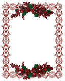 Christmas Border holly berries Stock Photo