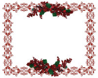 Christmas Border holly berries Stock Images