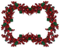 Christmas Border Holly Berry  Royalty Free Stock Photo