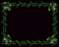 Christmas border Holly on black Stock Photo