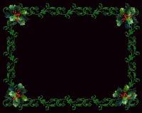 Christmas border Holly on black Stock Photo