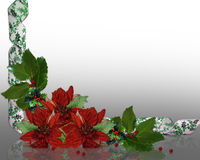 Christmas Border holly floral Stock Photo