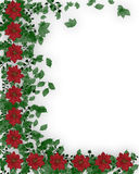 Christmas border holly and flowers. Image and illustration composition for Christmas card or background with poinsettias and holly. Copy space Royalty Free Stock Images