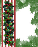 Christmas Border Holly Garland Stock Images