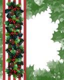 Christmas Border Holly Garland Stock Images