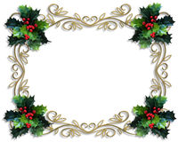 Christmas Border Holly gold frame Royalty Free Stock Image