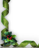 Christmas border Holly and green ribbons. Christmas design with holly leaves and green damask ribbons for greeting card border or background. Image composition Stock Images