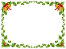 Christmas border / Holly leaves. /Christmas bells background stock illustration