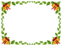 Christmas border / Holly leaves. /Christmas bells background royalty free illustration
