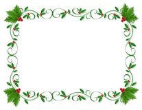 Christmas Border Holly ornamental stock illustration