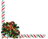 Christmas border holly ornaments Royalty Free Stock Photos