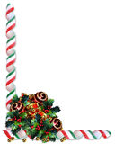 Christmas border holly ornaments Royalty Free Stock Photo