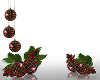 Christmas border Holly and ornaments  Stock Image